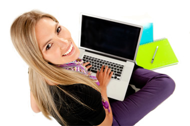 Girl with laptop image